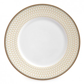 "Gordon Castle Antler Trellis 8"" Dinner Plate on Ivory"