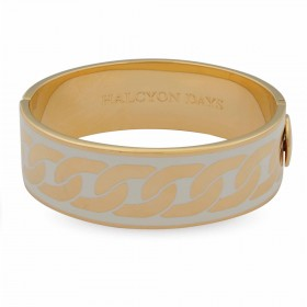 Curb Chain Bangle, Cream & Gold