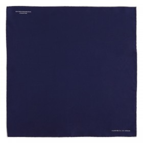 Navy and White Piped Silk Pocket Square