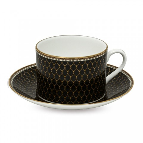 Gordon Castle Antler Trellis Black Teacup & Saucer