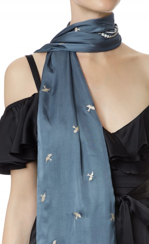 Foxglove Accessories Bird Dinner Scarf Fern Mix
