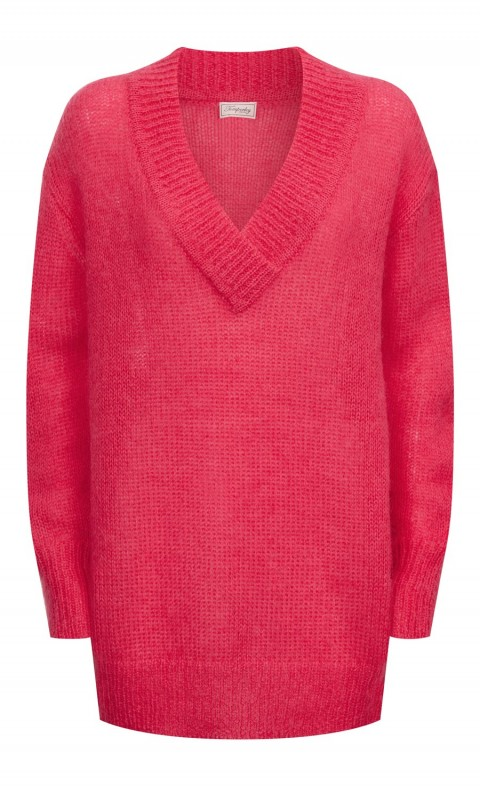 Iron V Neck Jumper Flamingo
