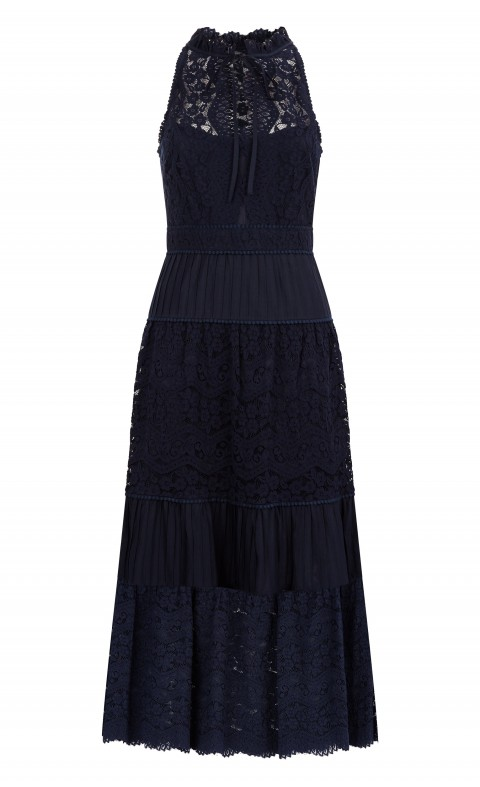 Lunar Lace Midi Dress Midnight