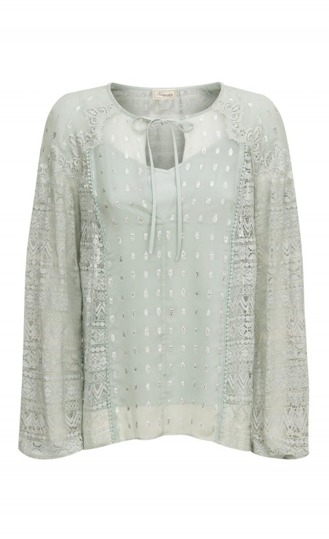 Wondering Lace Blouse Pale Lichen Mix