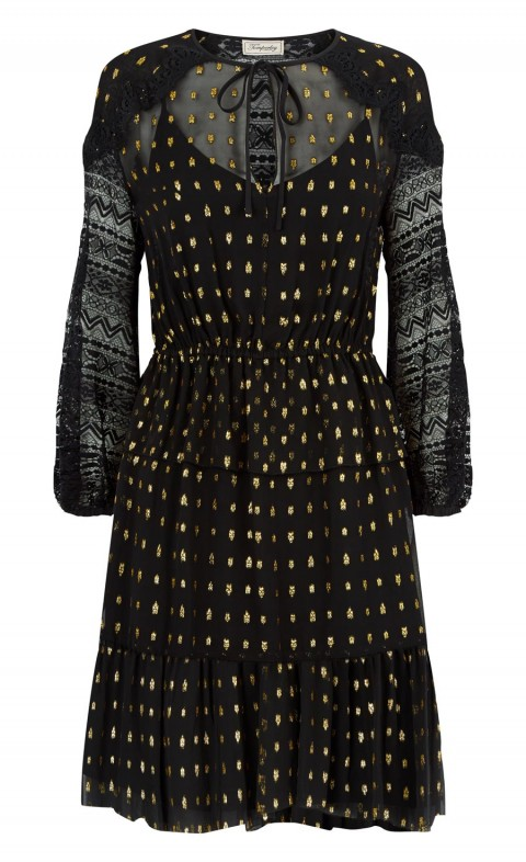 Wondering Lace Sleeved Dress Black Mix