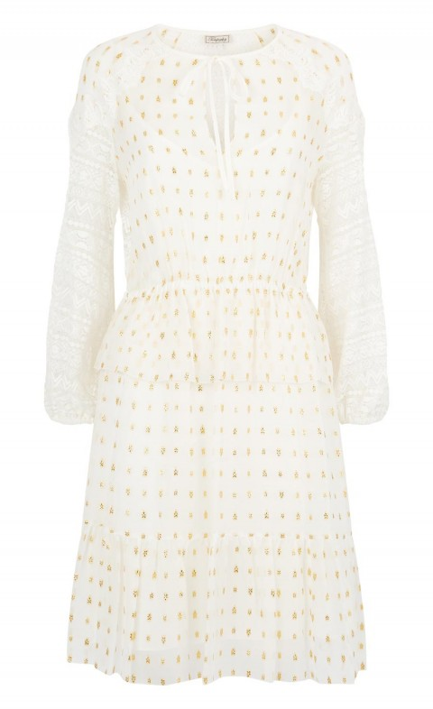 Wondering Lace Sleeved Dress White Mix