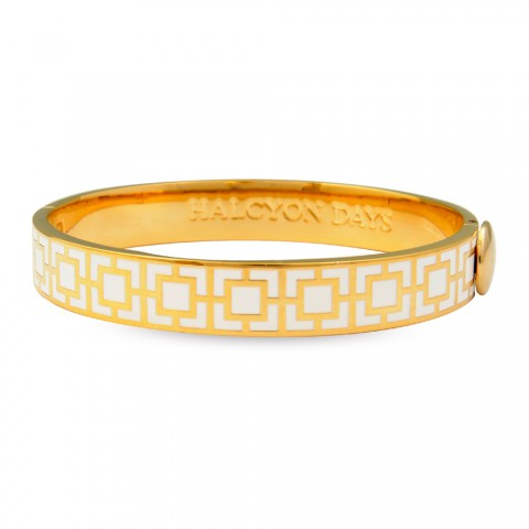 10mm Mosaic Bangle Cream & Gold