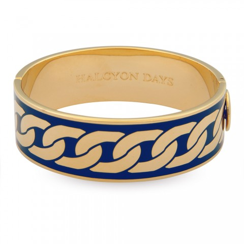 Curb Chain Bangle, Cobalt & Gold