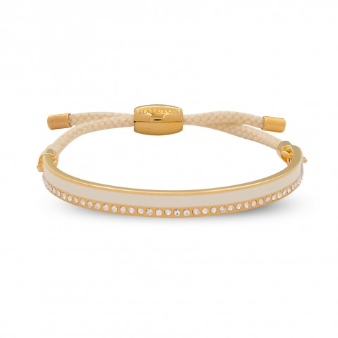 6mm Skinny Plain Sparkle Friendship Bangle Cream & Gold