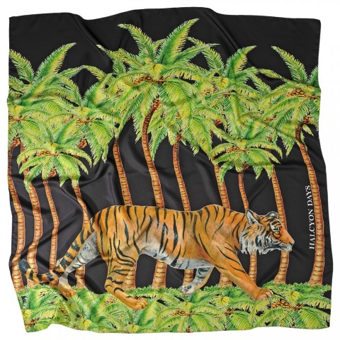 Tiger & Palm Black Silk Scarf