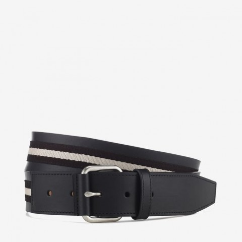 Tianis Men's Trainspotting Stripe Belt Black & Beige