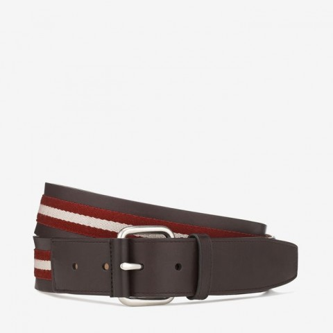 Tianis Men's Trainspotting Stripe Belt Red & Beige