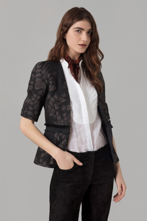 Black Cloque Jacquard Jacket