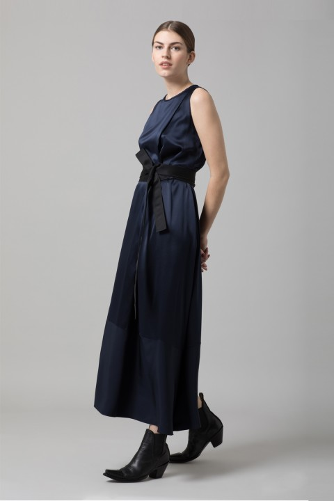 Midnight Crepe Midi Dress