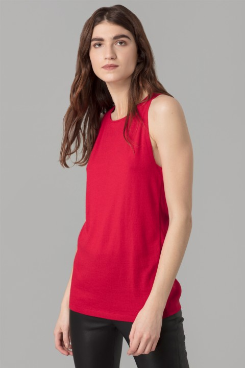 Red Sleeveless Cashmere Top