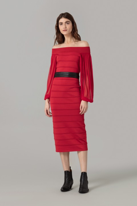 Red Sculpted Viscose Dress