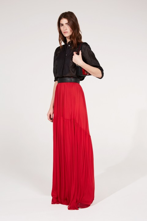 Red Silk Tulle Skirt