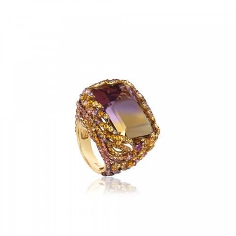 Tsar Feather Ametrine 18ct Yellow Gold Ring