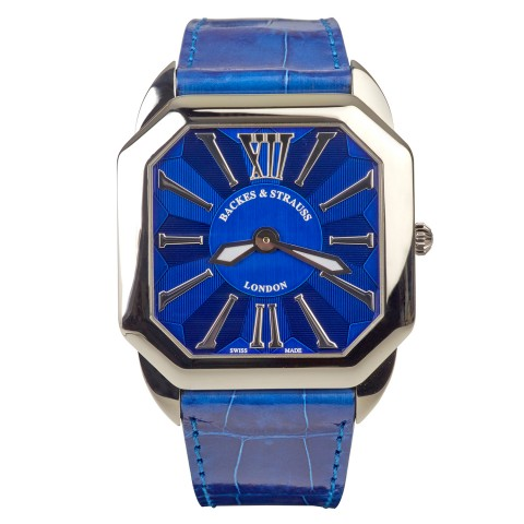 The Berkeley Renaissance 43 Diamond Watch Blue Leather Strap