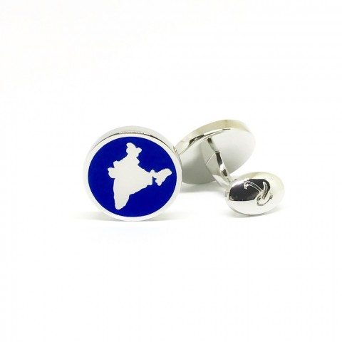 Reddendi India Silver Cufflinks Royal Marine Blue
