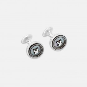 Smoke Sterling Silver Button Cufflinks