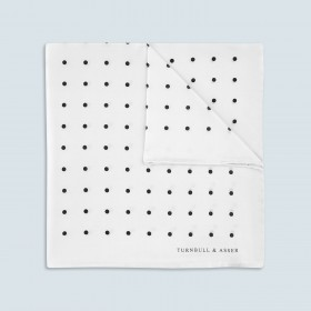 White Silk Pocket Square with Black Spot