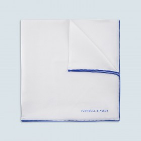 White and Blue Piped Silk Pocket Square