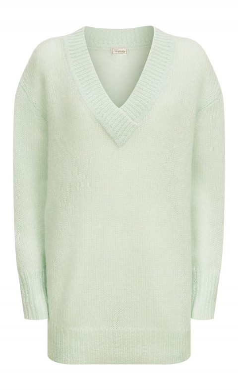 Iron V Neck Jumper Pale Lichen