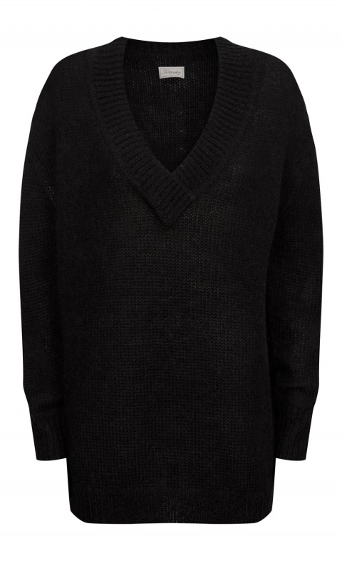 Iron V Neck Jumper Black