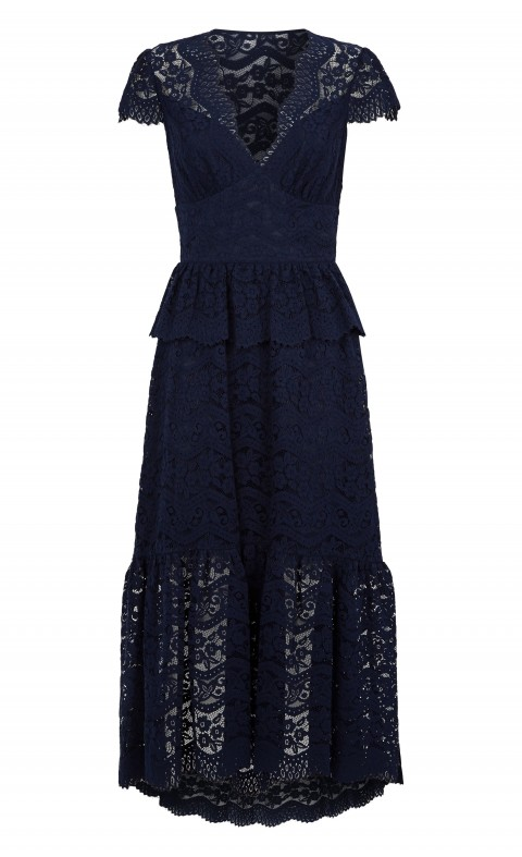 Lunar Lace V Neck Dress Midnight