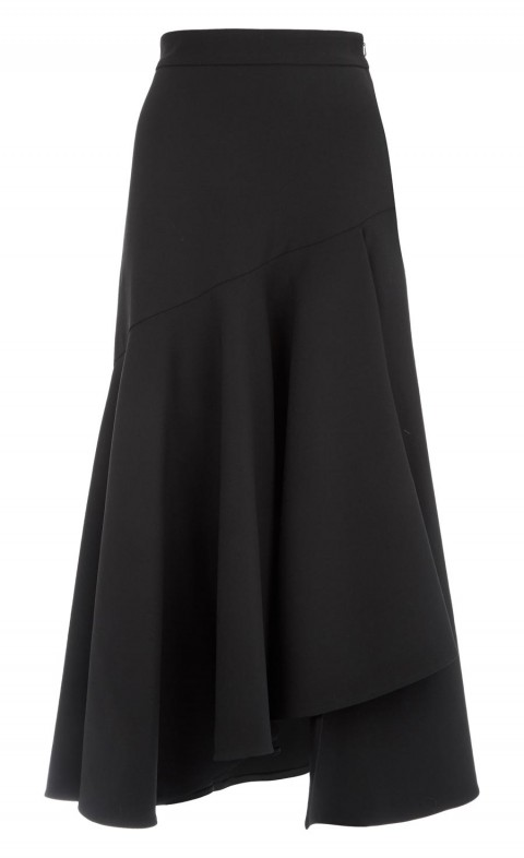 Mercury Plain Ruffle Skirt Black