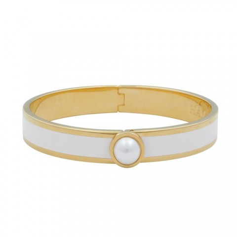 Cabochon Pearl Cream & Gold Bangle