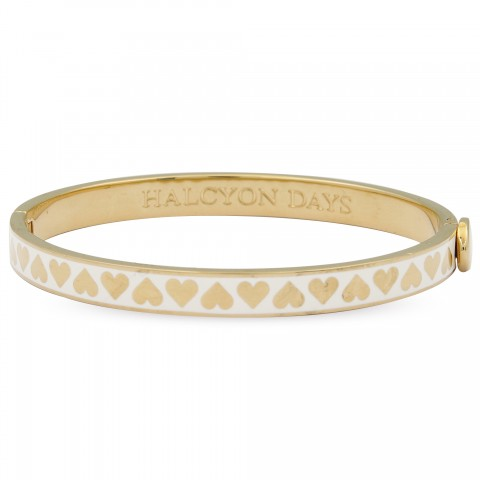 SKINNY HEART BANGLE CREAM & GOLD