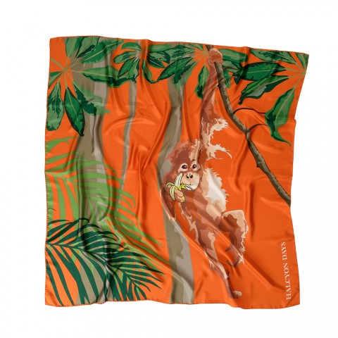 Orangutan Orange Silk Scarf