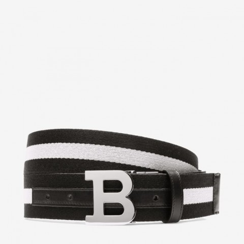 Bally B Buckle Multicolor Men's Fabric Buckle Belt Black/Beige