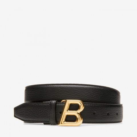 Bally B Oblique 30mm Black Women's Leather Adjustable Belt Black
