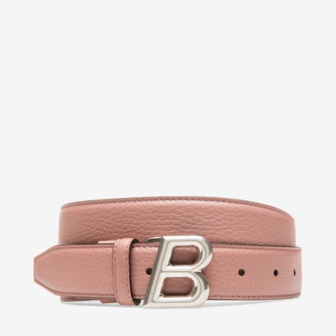 Bally B Oblique 30mm Women's Leather Adjustable Belt Pink Rosehaze