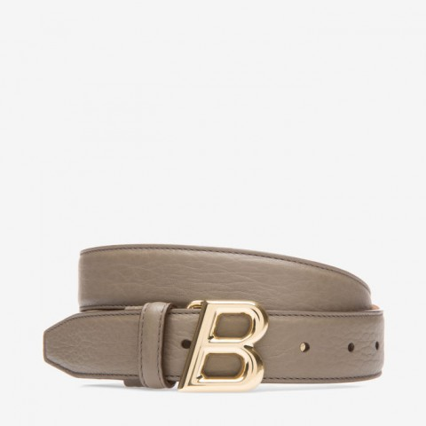 Bally B Oblique 30mm Grey Women's Leather Adjustable Belt Snuff