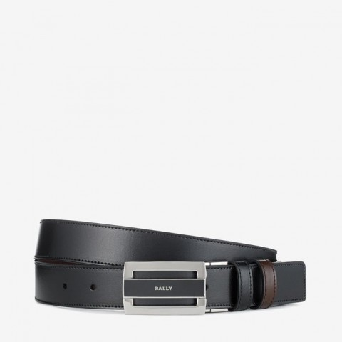 Bally Fabazia Men's Brushed Leather Reversible Belt Black / Brown