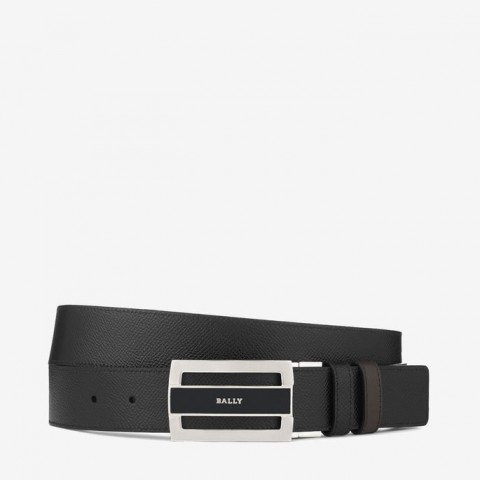 Bally Fabazia Men's Supple Leather Reversible Belt Black