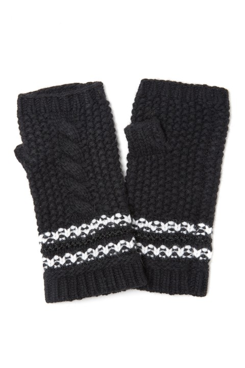 Amanda Wakeley Black Cable Knit Gloves