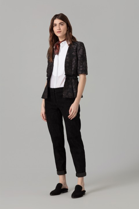 Amanda Wakeley Black Cloque Jacquard Jacket