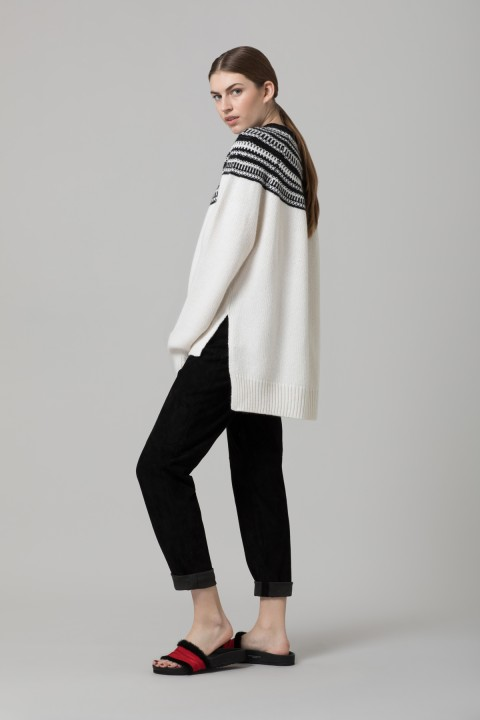 Amanda Wakeley White Jacquard Knit Jumper