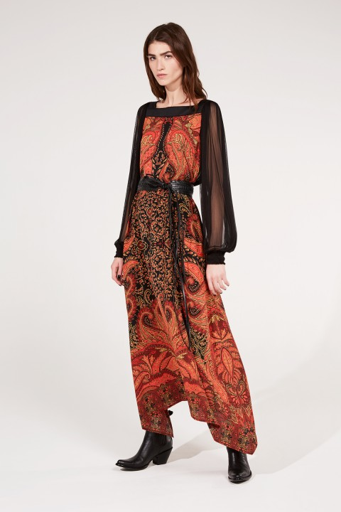 Printed Crepe & Silk Dress