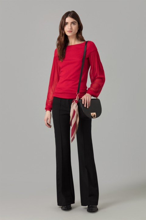 Red Jumper With Silk Sleeve