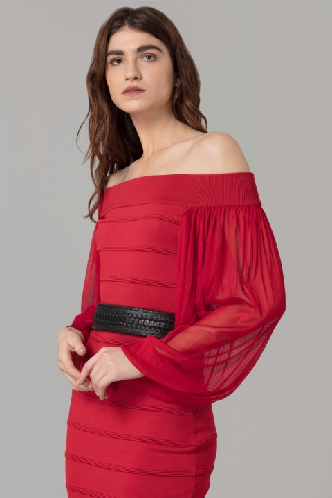 Amanda Wakeley Red Sculpted Viscose Dress