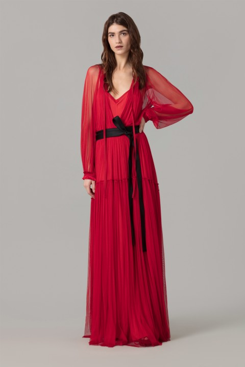Red Silk Tulle Maxi Dress