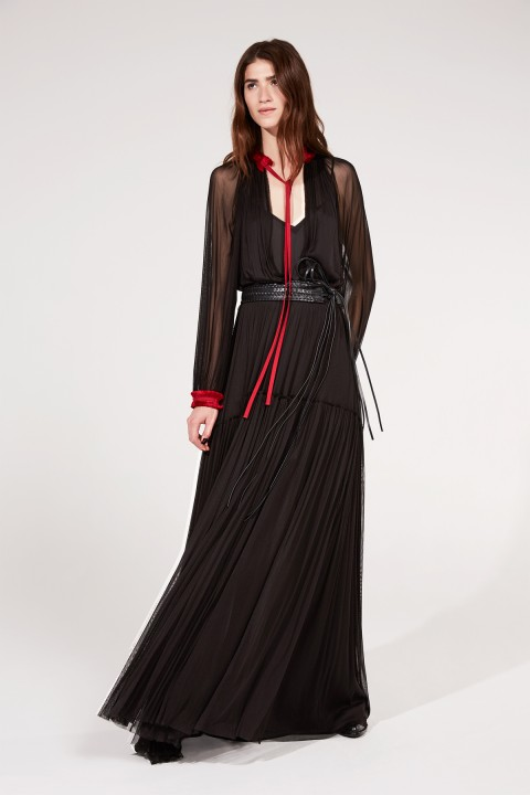 Black Silk Tulle Maxi Dress