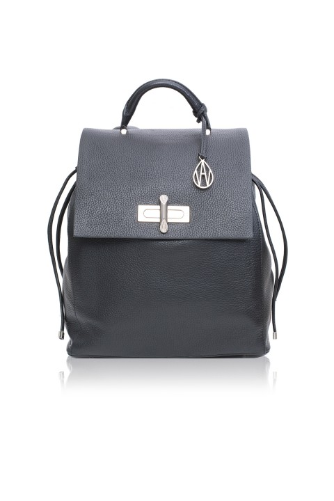 Elba Black Leather Backpack