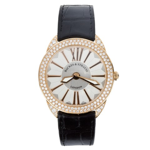 Piccadilly Renaissance 33 Diamond Watch Rose Gold Leather Strap